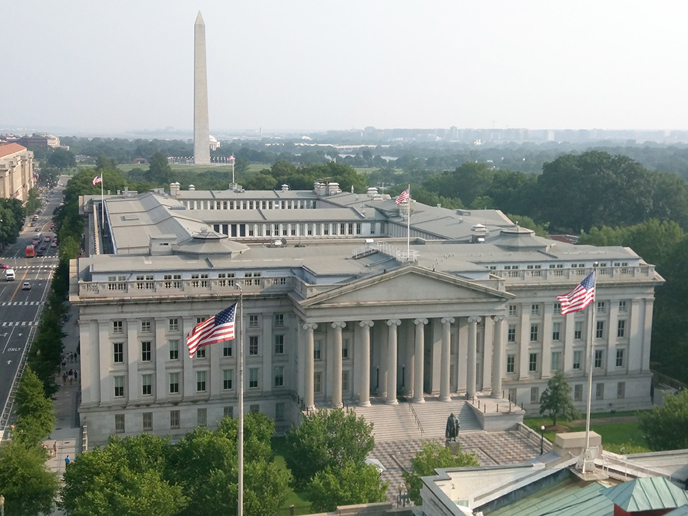 US Treasury building aerial view.