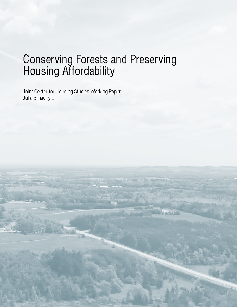 "Cover of the paper ""Conserving Forests and Preserving Affordable Housing."""