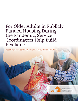 "Cover of the paper ""For Older Adults in Publicly-Funded Housing During the Pandemic, Service Coordinators Help Build Resilience"""