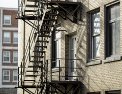 View of an apartment building fire escape.